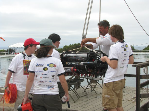 The team from Cornell University launch their submersible at the SPAWAR testing pool in Point Loma.