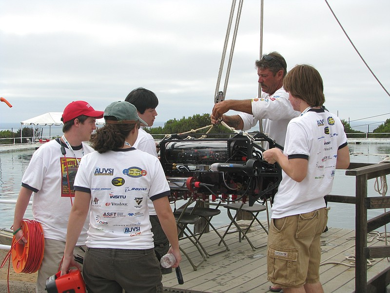 The team from Cornell University launch their submersible at the SPAWAR testi...