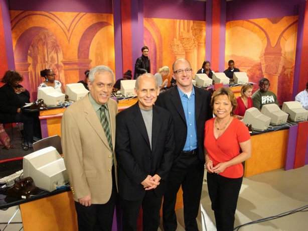 Dr. Daniel Amen (2nd from left) live in the KPBS Studio during a membership campaign in San Diego.