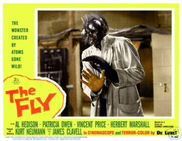 "A lobby card from the 1958 version of ""The Fly"""