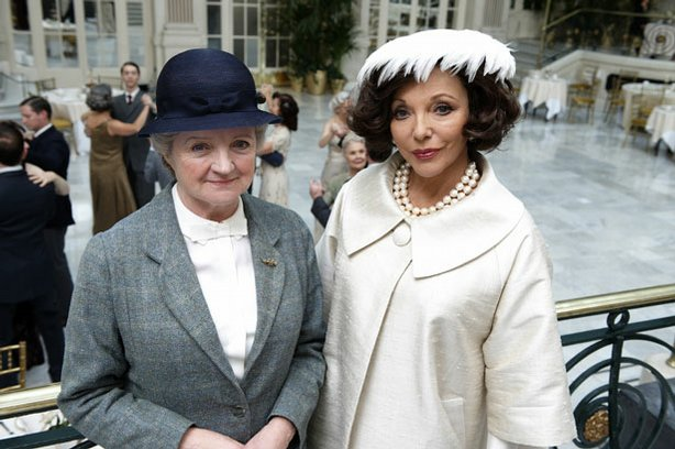 Julia McKenzie (left) as Miss Marple and Joan Collins (right) as Ruth van Rydock.