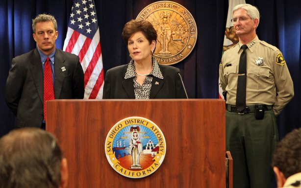 San Diego County District Attorney Bonnie Dumanis, flanked by FBI Special Age...