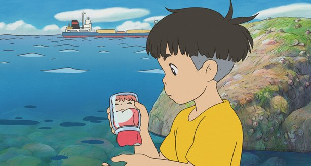 "Sousuke finds a golfish trapped in a jar in ""Ponyo"""