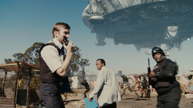 "The alien craft that looms over Johannesburg in ""District 9"""