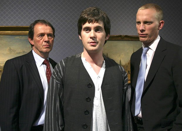 Pictured (l-r): DI Lewis (Kevin Whately), Philip Horton (Tom Riley) and DS Ha...