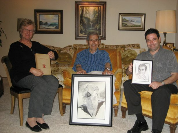 The story surrounding the portrait Fletcher Rhoden (right) is holding brought these people together. The portrait of George Silva (center) was sketched in 1944 while he was held inside the German POW camp Stalag 17B. George's daughter, Gloria (left), asked <em>HISTORY DETECTIVES</em> to find out what happened to the artist who made the drawing in her father's wartime logbook. The search led <em>HISTORY DETECTIVES</em> to Fletcher Rhoden and another important sketch (foreground).