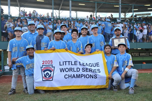 Chula Vista Park View Little League players celebrate their victory against Asia Pacific (Taoyuan, Taiwan) after the game after the little league world series final at Lamade Stadium on August 30, 2009 in Williamsport, Pennsylvania.