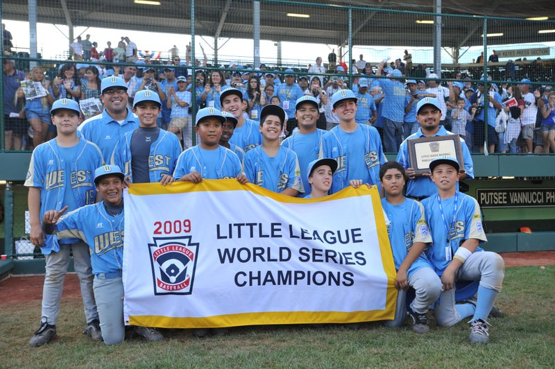 Chula Vista Park View Little League players celebrate their victory against A...