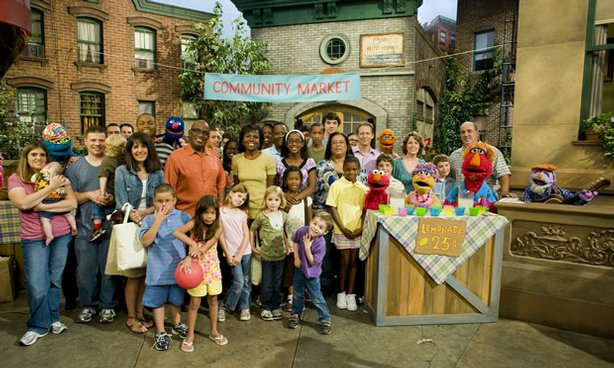 "The cast of ""Families Stand Together: Feeling Secure in Tough Times"" on Sesame Street."