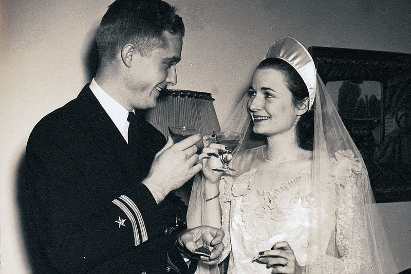 Doris and Paul Sutton on their wedding day.  The Suttons were second place wi...