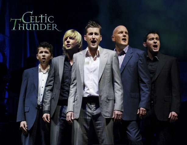 """(left to right) Damian McGinty, Keith Harkin, Paul Byrom, George Donaldson, and Ryan Kelly perform at Casino Rama in Ontario, Canada in """"Celtic Thunder — Take Me Home,"""" premiering nationwide on public television in 2009."""