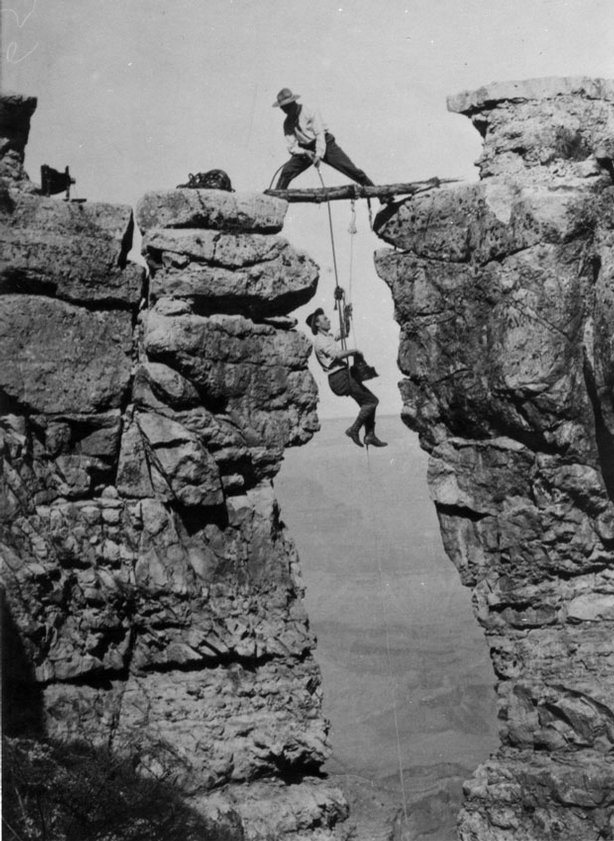 """As revealed in """"THE NATIONAL PARKS: AMERICA'S BEST IDEA,"""" a six-part, 12-hour film by Ken Burns and Dayton Duncan, Ellsworth and Emery Kolb (pictured) established their photographic studio on the South Rim of the Grand Canyon in 1902; they embarked on a number of expeditions into the canyon to get dramatic shots of the canyon from places no one had ever dared go before."""