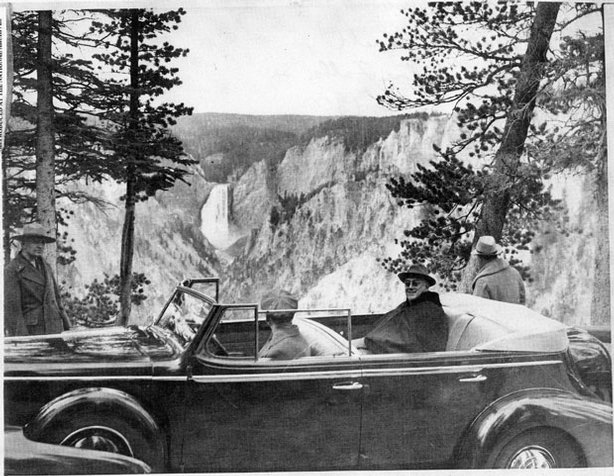 "As revealed in ""THE NATIONAL PARKS: AMERICA'S BEST IDEA,"" a six-part, 12-hour film by Ken Burns and Dayton Duncan, despite his disability, which confined him to the back seat of his touring car, President Franklin Roosevelt (pictured here viewing the Lower Falls of the Yellowstone River) loved to visit national parks — and he encouraged his fellow citizens to do likewise, even during the hard times of the Depression."