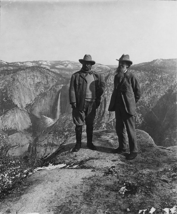 """As revealed in """"THE NATIONAL PARKS: AMERICA'S BEST IDEA,"""" a six-part, 12-hour film by Ken Burns and Dayton Duncan, Theodore Roosevelt did more for the national park idea than any other president in history. During a cross-country trip in 1903, he spent three nights camping alone in Yosemite with the other great champion of the parks, mountain prophet John Muir, who enlisted Roosevelt into making Yosemite Valley part of a larger national park. Pictured: Theodore Roosevelt and John Muir, Yosemite National Park, 1903"""