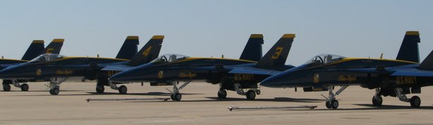 Blue Angels jets on the tarmac at MCAS Miramar. The Blue Angels will perform three shows at Marine Corps Air Station Miramar this weekend.