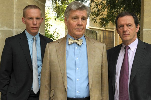 Pictured (l-r): DS James Hathaway (Laurence Fox), Norman Deering (James Fox) ...