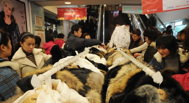 Customers shop at a franchise house  in Chengdu of Sichuan Province, China.
