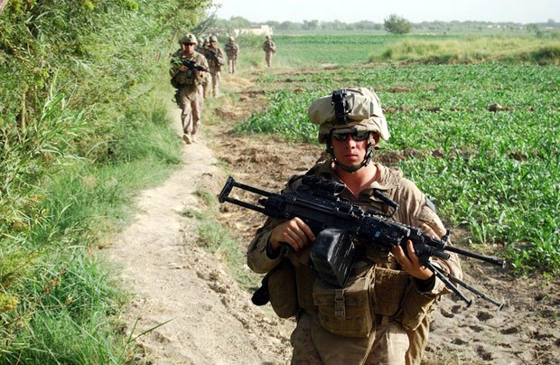 Foot patrol in Helmand, Afghanistan with Echo Company of the 2nd Battalion, 8...