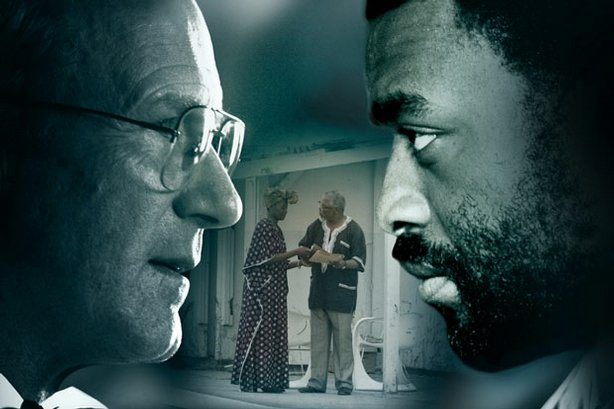 "Chiwetel Ejiofor as Thabo Mbeki and William Hurt as Professor Will Esterhuyse in ""Masterpiece Contemporary: Endgame."" A nation teeters on the brink of civil war in this real-life political thriller about the negotiations that led to the end of apartheid in South Africa."