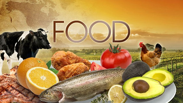 Graphic title with a cow, salmon, chicken, steak, oranges, tomato and avocado...