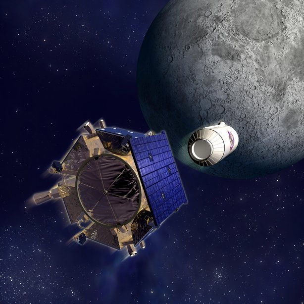 The LCROSS spacecraft, shown above, prepares to smash into the moon in this N...