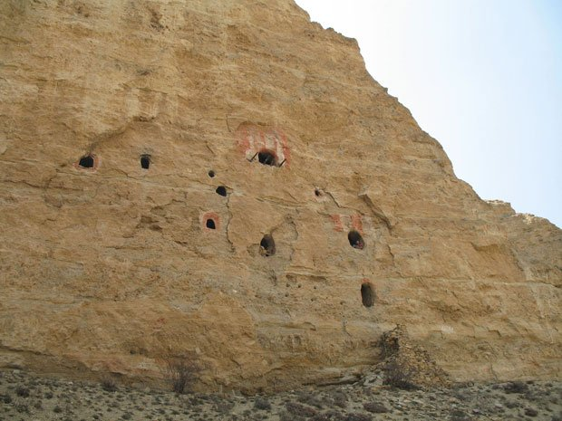 A cave complex in Upper Mustang, Nepal. In a remote corner of the Himalaya, i...
