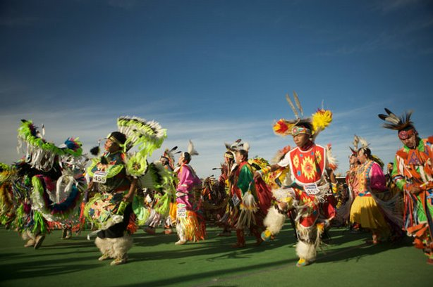 Native dancers at the 2008 North American Indian Days pow-wow.