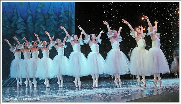 "Dancers on stage performing in ""The Nutcracker."""