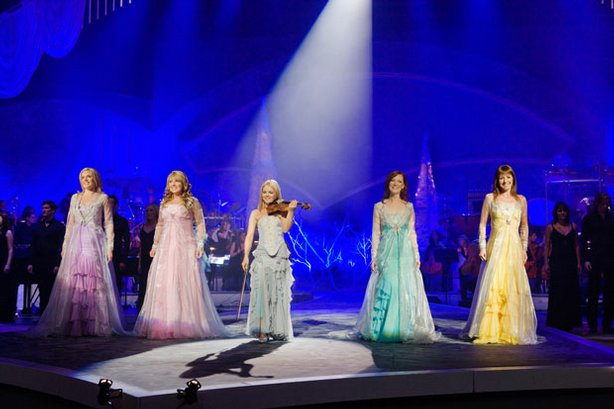 The Christmas special, filmed in Dublin's prestigious Helix Centre, where the Celtic Woman phenomenon began, features holiday classics and several original pieces. Pictured: Celtic Woman performs live on stage.
