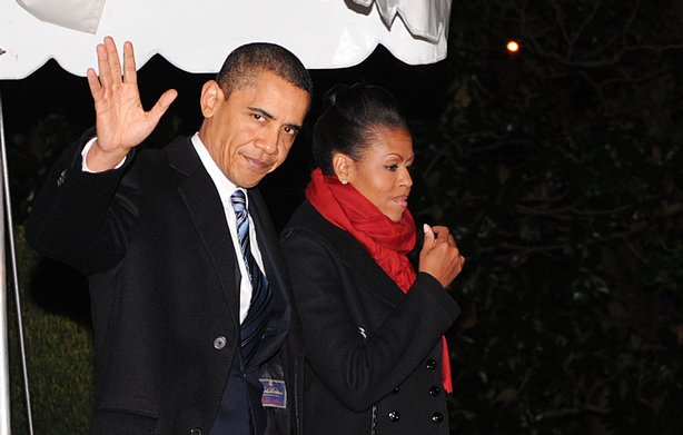U.S. President Barack Obama and first lady Michelle Obama depart the White House en route to Andrews Air Force Base December 9, 2009 in Washington, DC. The first couple is on their way to Oslo, Norway to attend the Nobel Prize awards ceremony.