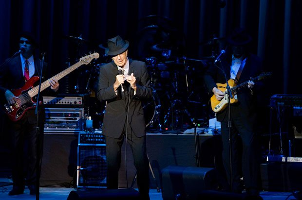 Influential singer/songwriter Leonard Cohen performs at London's 02 Arena dur...