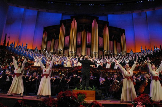 "Photo of the Mormon Tabernacle Choir and dancers. ""Christmas With The Mormon Tabernacle Choir"" is an annual holiday concert featuring the renowned choir and orchestra at Temple Square, the Bells on Temple Square and dancers from the University of Utah Ballet Department."