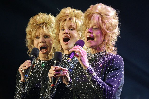 The McGuire Sisters, who reunite for the first time since 1967, sing a medley...