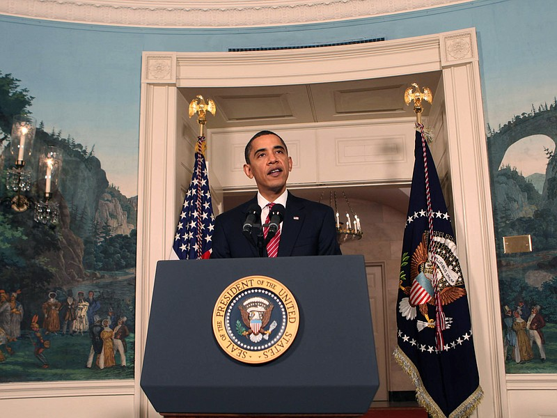 President Barack Obama makes a statement on the economy in the Diplomatic Roo...