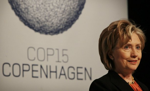 US Secretary of State Hillary Clinton speaks at a press conference at the UN Climate Change Conference on December 17, 2009 in Copenhagen, Denmark.