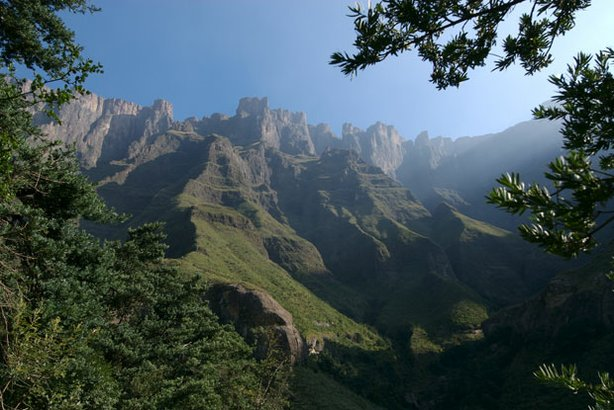 Escarpment cliffs in the Drakensberg Mountains, Africa.