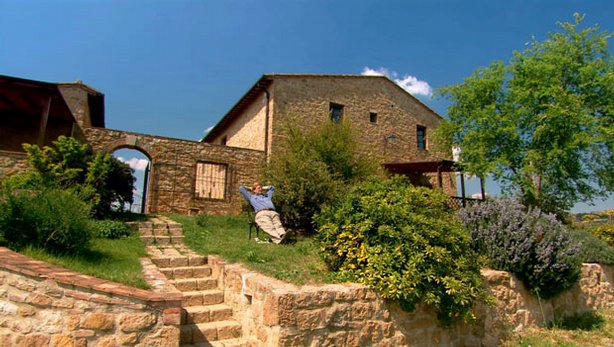 Rick Steves relaxing at Tuscan Agriturismo, Italy.