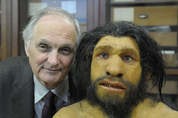 Alda cozies up to an ancient cousin, a Neanderthal, at the American Museum of...