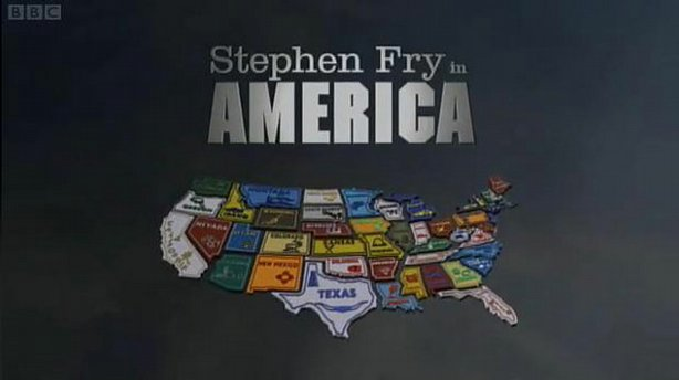 "Graphic with program title ""Stephen Fry In America"" and the United States of America."