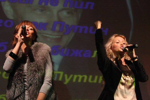 Yana Danieko and Irina Kozlova perform a karaoke version of their megahit son...