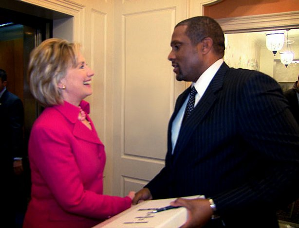"""Secretary of State Hillary Clinton and Tavis Smiley, host of """"Tavis Smiley Reports,"""" are pictured after Smiley's interview for """"One On One With Hillary Clinton,"""" in which Smiley travels and talks with Clinton about her first year as America's chief diplomat."""