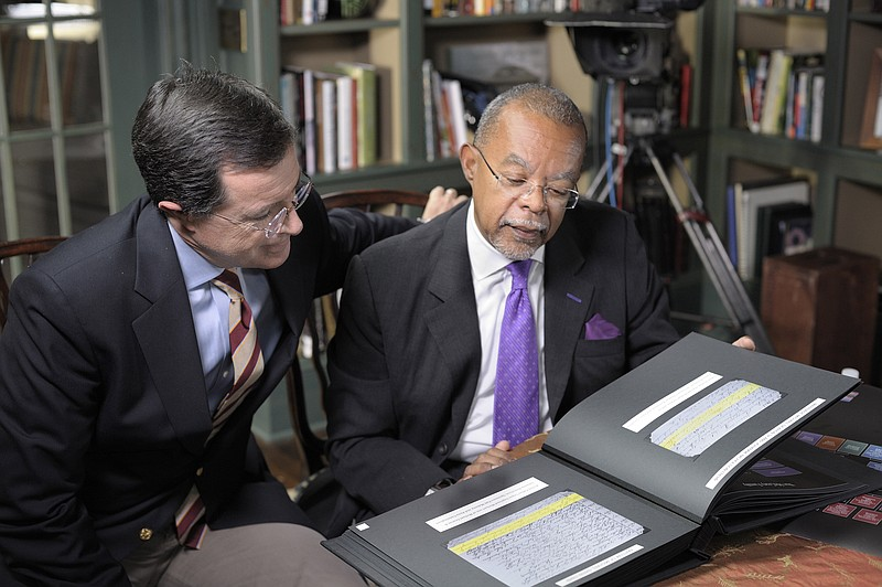 Stephen Colbert (right), Henry Louis Gates Jr. (left)
