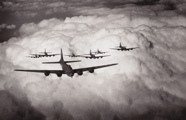 While Britain's Royal Air Force targeted Germany's cities under the cover of darkness, the Americans used precision targeting to drop explosives on strategic military targets. This program traces the evolution of the tactics, moral conundrums and internal battles that took place between Allied forces. Pictured: B-17 bombers in formation.