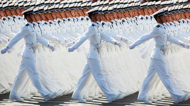 Chinese People's Liberation Army sailors march past Beijing's Tiananmen Square in October of 2009 during celebrations of the 60th anniversary of the founding of the People's Republic of China.