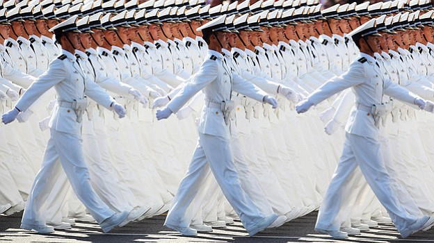 Chinese People's Liberation Army sailors march past Beijing's Tiananmen Squar...