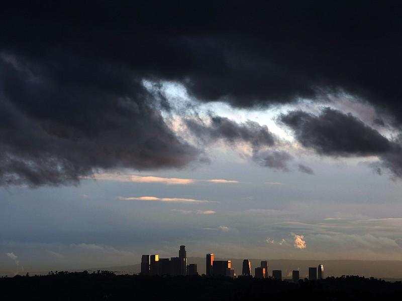Fast-moving clouds approach downtown Los Angeles on January 22, 2010.