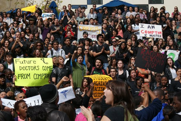 UCSD students gathered outside of the Price Center on campus on February 24, ...