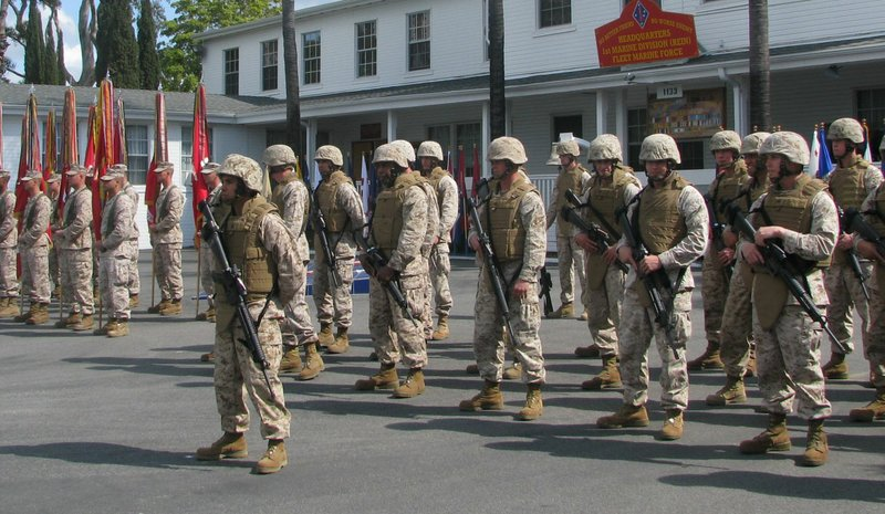 First Marine Division Color Guard lines up before their historic headquarters...
