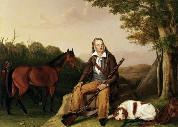 "Portrait of John James Audubon with dog, creator of ""The Birds of America."""