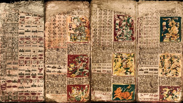 "Pages from the ""Dresden Codex,"" one of only four Maya books known to have sur..."